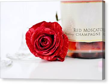 Red Rose With Champagne Canvas Print