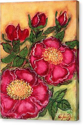Red Roses Canvas Print by Anna Folkartanna Maciejewska-Dyba