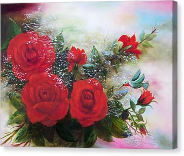 Canvas Print featuring the painting Red Roses by Joni McPherson
