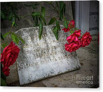 Red Roses On Grave In Nice, France Canvas Print by Liesl Walsh
