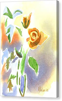 Red Roses With Holly In A Vase Canvas Print by Kip DeVore