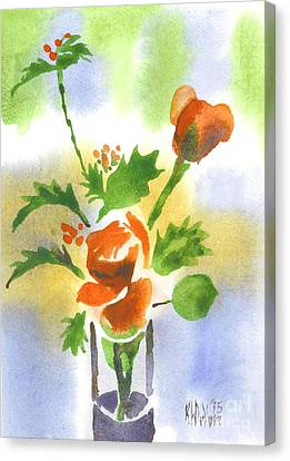 Red Roses With Holly Canvas Print by Kip DeVore