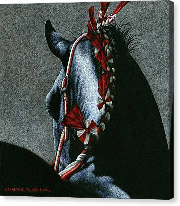 Draft Horse Canvas Print - Red Rosettes by Katherine Plumer