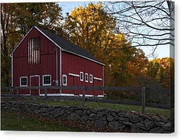 Red Rustic Barn Canvas Print by Susan Candelario