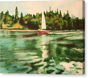 Red Sailboat North End Of Harstene Island Canvas Print