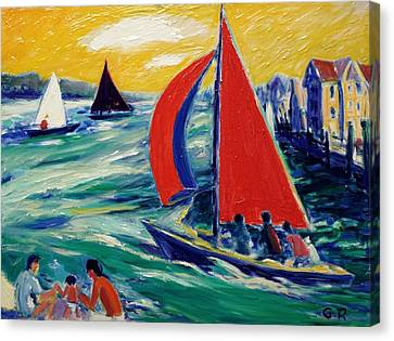 Red Sails And Boating Pleasures Canvas Print