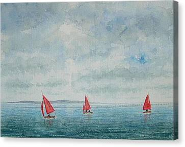 Red Sails And Hilbre Island Canvas Print by Peter Farrow