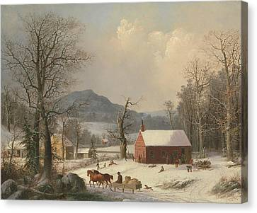Red School House Canvas Print - Red School House  by George Henry Durrie