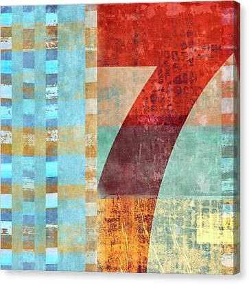 Montage Canvas Print - Red Seven And Stripes Mixed Media by Carol Leigh
