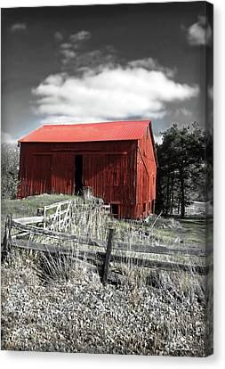 Red Shack Landscape Canvas Print by Joan  Minchak