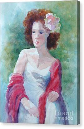 Red Shawl Canvas Print by Marilyn Jacobson