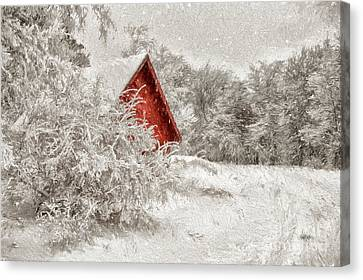 Red Barn In Snow Canvas Print - Red Shed In The Snow by Lois Bryan