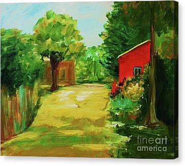 Red Shed Canvas Print by Julie Lueders