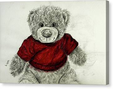 Red Shirt Teddy Bear Canvas Print by Liza Gonen
