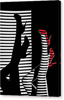 Canvas Print featuring the photograph Red Shoe Diaries by Dario Infini