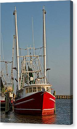 Red Shrimp Boat Canvas Print by Christopher Holmes