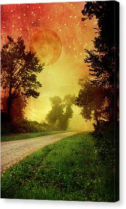 Ghostly Canvas Print - Red Sky Along Starry Pathway by Christina Rollo