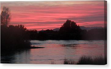Canvas Print featuring the photograph Red Sky At Night by Antonia Citrino