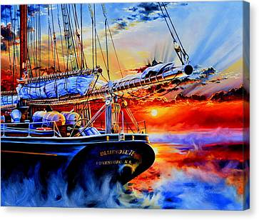 Tall Ship Canvas Print - Red Sky In The Morning by Hanne Lore Koehler