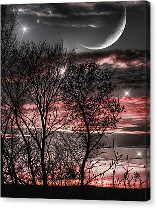 Red Sky Moon Canvas Print by Marianna Mills
