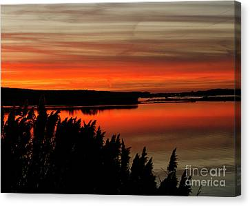Red Sky On The Illinois River Canvas Print