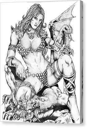 Red Sonja Canvas Print by Bill Richards