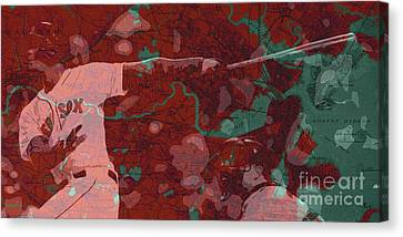 Boston Red Sox Canvas Print - Red Sox Baseball Player On Boston Harbor Map by Pablo Franchi