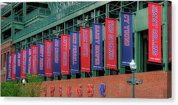 Red Sox Hall Of Fame Banners - Fenway Park Canvas Print by Joann Vitali
