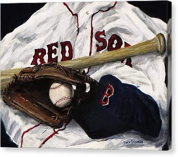 Baseball Glove Canvas Print - Red Sox Number Nine by Jack Skinner