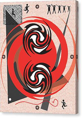 Red Spirals Canvas Print by Christine Perry