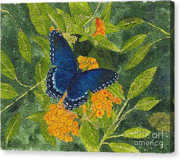 Red Spotted Purple Butterfly Batik Canvas Print