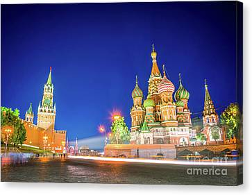 Red Square At Night Canvas Print by Delphimages Photo Creations