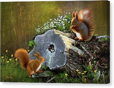 Canvas Print featuring the digital art Red Squirrels by Thanh Thuy Nguyen