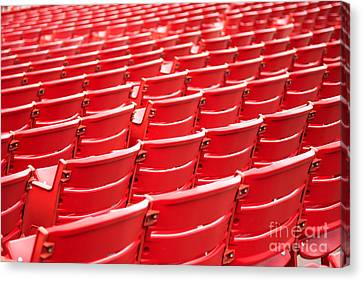 Red Stadium Seats Canvas Print by Paul Velgos