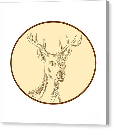 Red Stag Deer Head Circle Etching Canvas Print