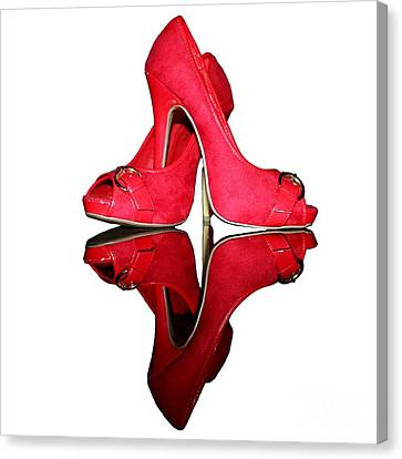 Red Stiletto Shoes On Transparent Background Canvas Print by Terri Waters
