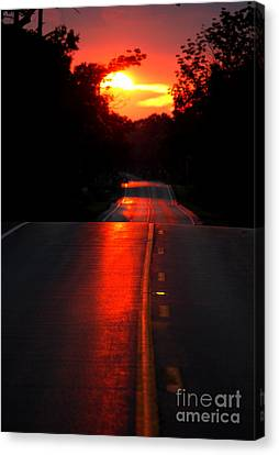 Canvas Print featuring the photograph Red Street by Lila Fisher-Wenzel