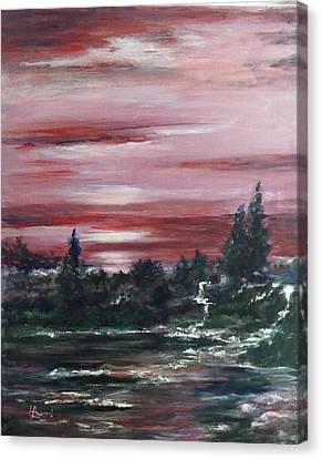 Canvas Print featuring the painting Red Sun Set  by Laila Awad Jamaleldin