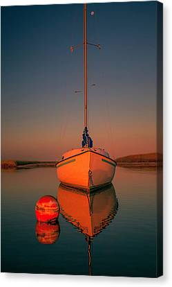 Red Sunrise Reflections On Sailboat Canvas Print