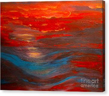 Red Sunset Abstract  Canvas Print by Nancy Rucker