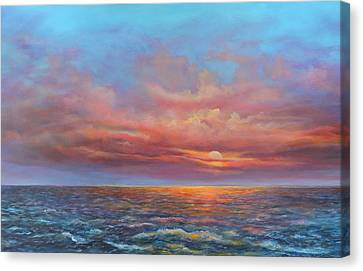 Red Sunset At Sea Canvas Print