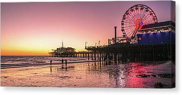 Red Sunset In Santa Monica Canvas Print