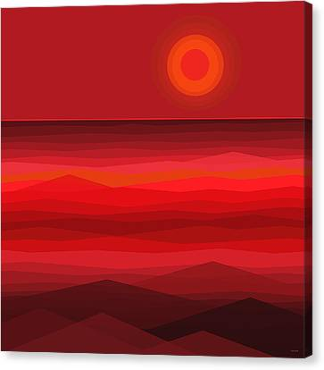 Red Sunset Canvas Print by Val Arie