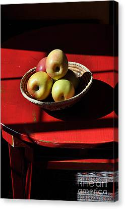 Red Table Apple Still Life Canvas Print