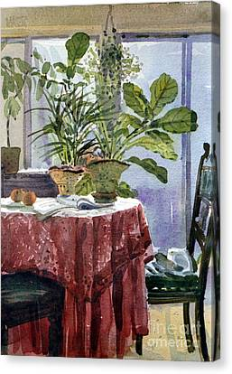 Red Table Cloth Canvas Print by Donald Maier