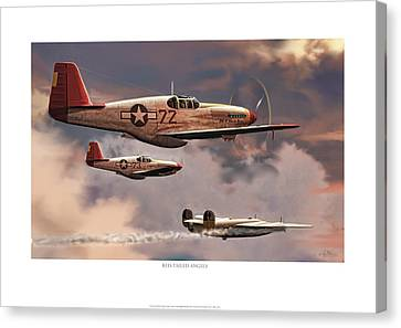 Red-tailed Angels Tuskegee Airmen P-51c Mustang Canvas Print by Craig Tinder