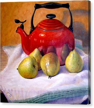 Canvas Print featuring the painting Red Teapot And Pears by Donelli  DiMaria