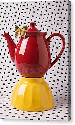 Red Teapot With Butterfly Canvas Print by Garry Gay