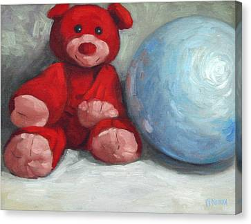 Red Teddy And A Blue Ball Canvas Print by William Noonan