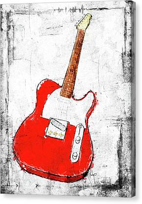Red Telecaster Fine Art Illustration By Roly O Canvas Print by Roly Orihuela